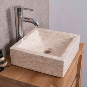 Vasque salle de bain à poser ALEXANDRIE carré 30cm x 30cm crème
