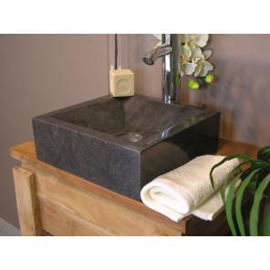 Vasque salle de bain � poser Alexandrie carr� 30cm x 30cm noir