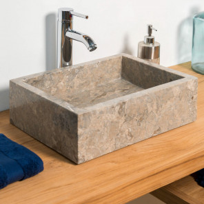 Vasque salle de bain à poser MILAN rectangle 30cm x 40cm gris taupe
