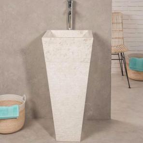 Vasque salle de bain sur pied en pierre pyramide cr�me