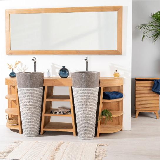 Meubles de salle de bain en teck d co maison jardin - Meuble salle de bain 180 cm ...