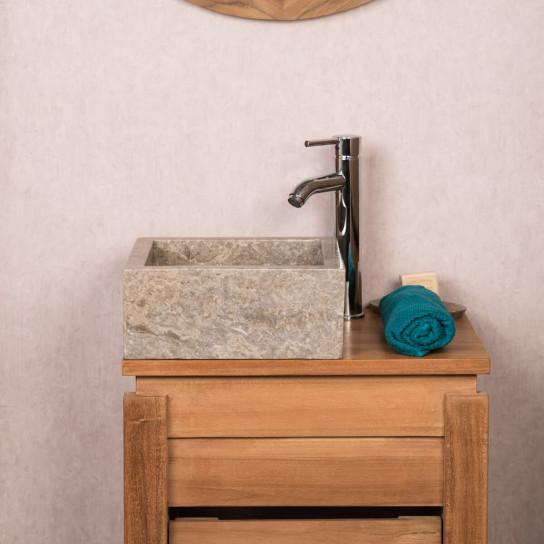 Vasque salle de bain � poser en marbre Milan gris taupe 30cm