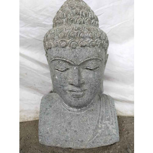 statue Buste de Bouddha en pierre volcanique 50 cm jardin zen