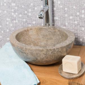 Vasque de salle de bain Ronde lavabo BARCELONE à poser en marbre de couleur Gris - Diamètre 30 cm
