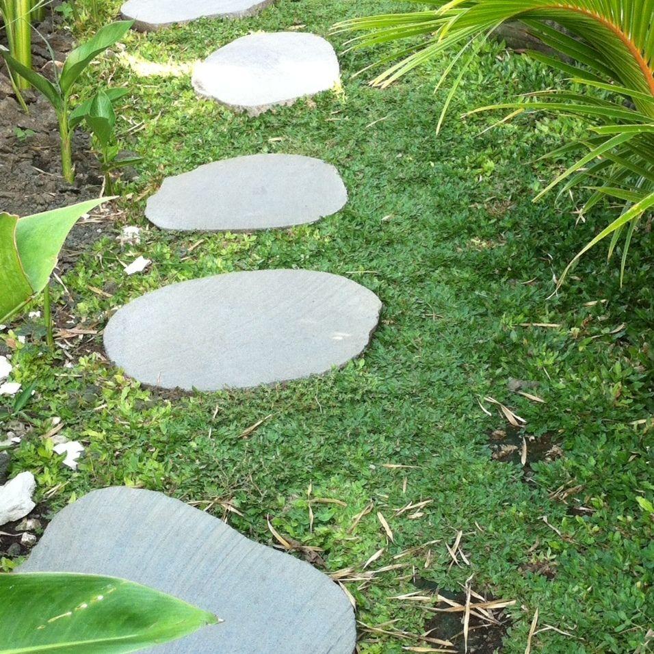5 pas japonais en pierre galet de rivi re 50 55cm for Galet jardin japonais