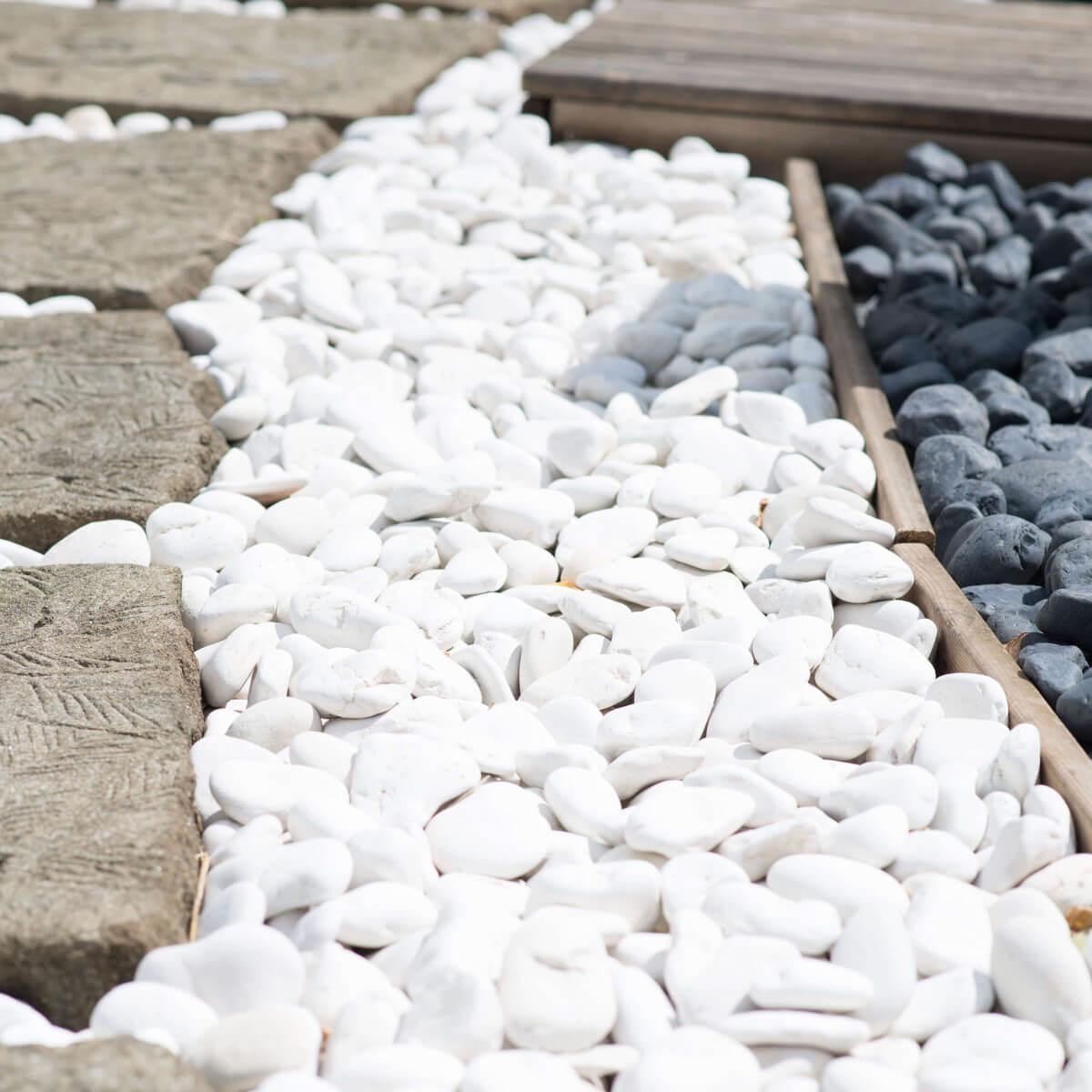 Galet d coratif de jardin blanc 5 sacs p 20 kg for Galet jardin japonais