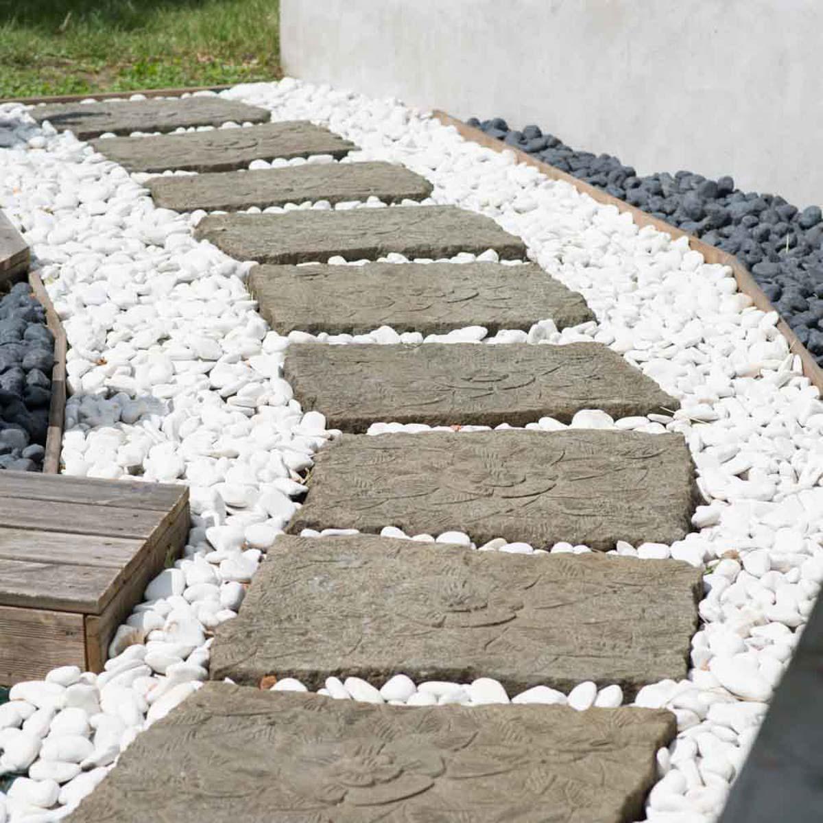 galet d coratif de jardin blanc 5 sacs p 20 kg. Black Bedroom Furniture Sets. Home Design Ideas