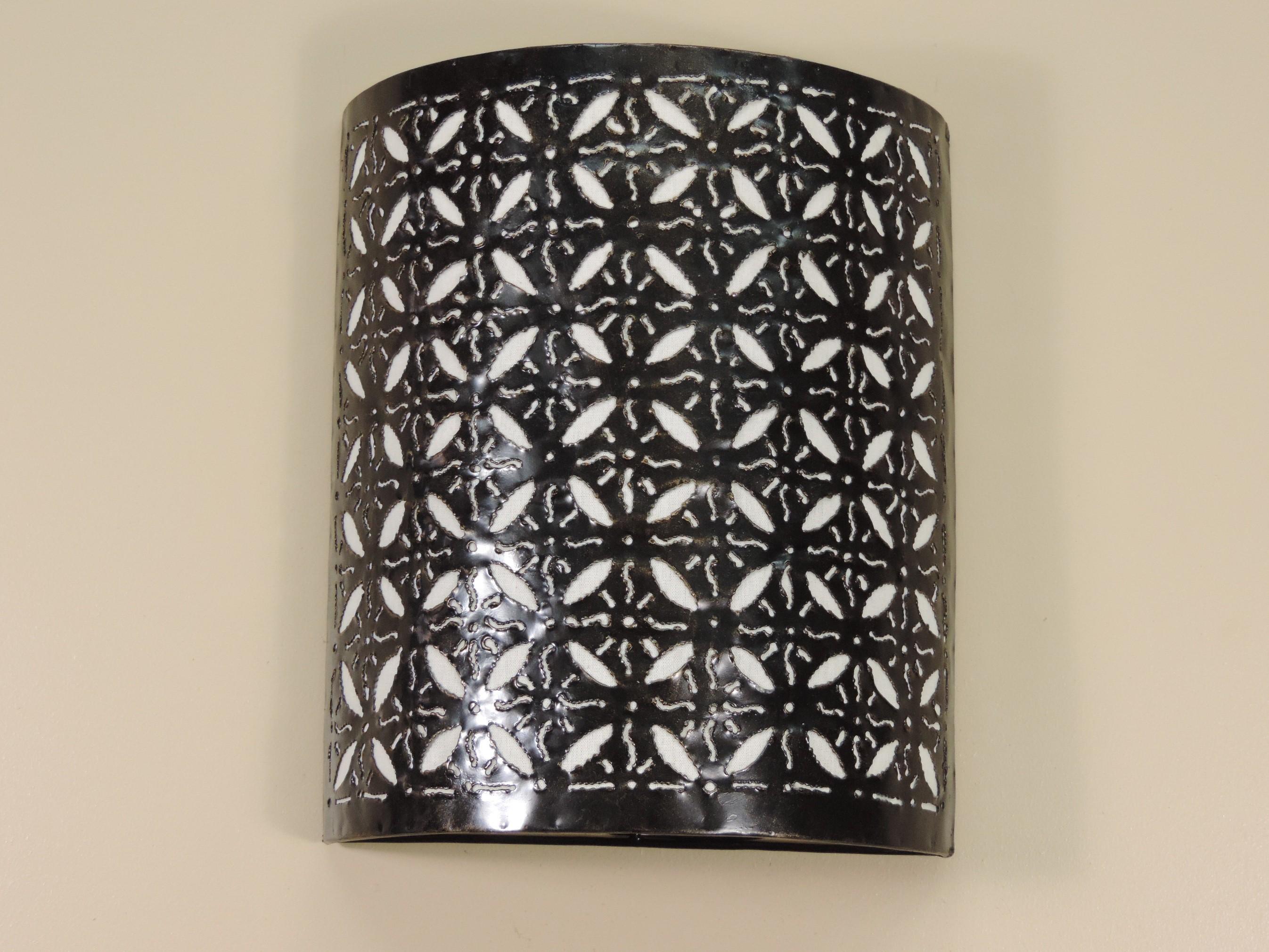 neuf applique en fer forg blanche fleur 30 cm ebay. Black Bedroom Furniture Sets. Home Design Ideas