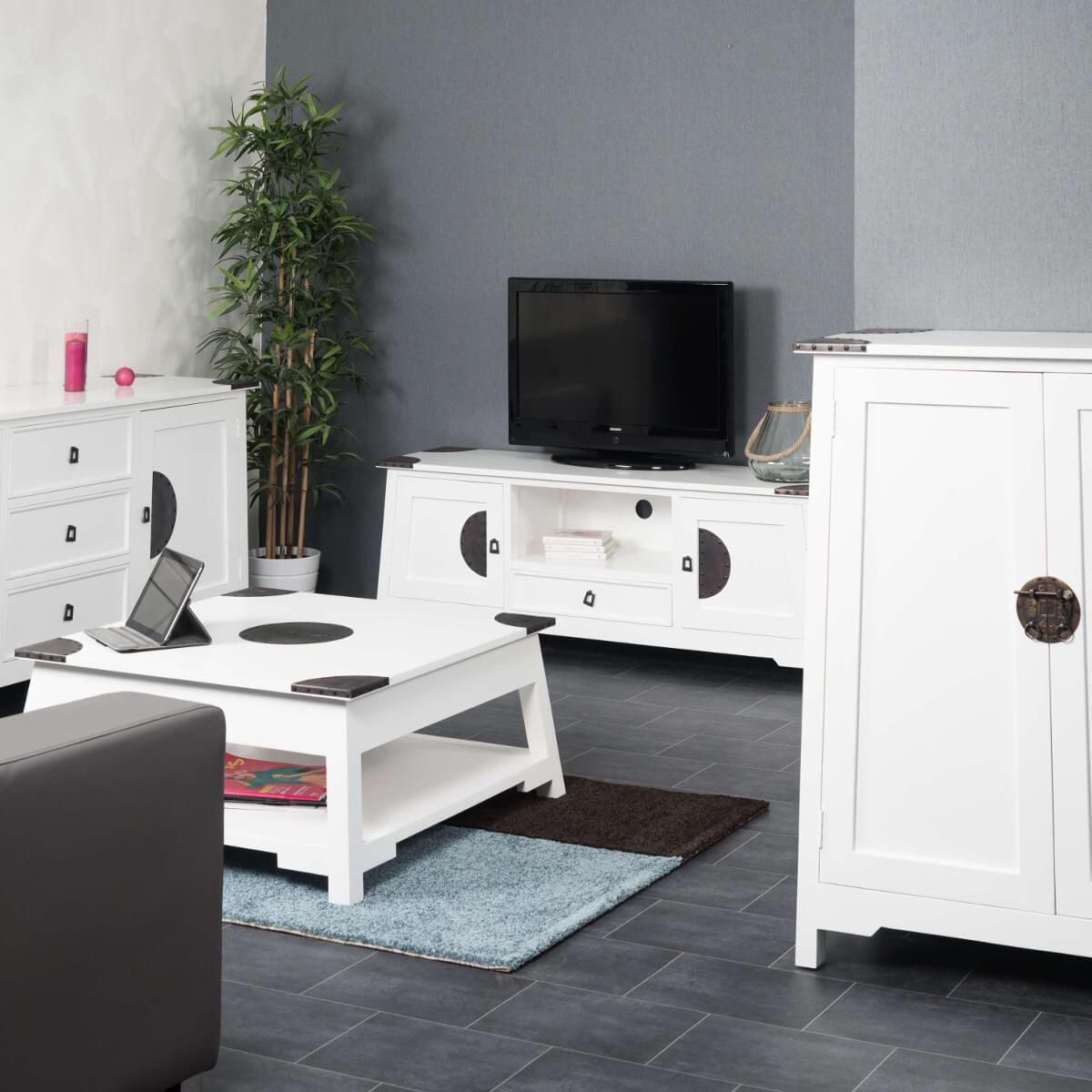 bahut de salon en bois d 39 acajou massif thao rectangle blanc l 90 cm. Black Bedroom Furniture Sets. Home Design Ideas