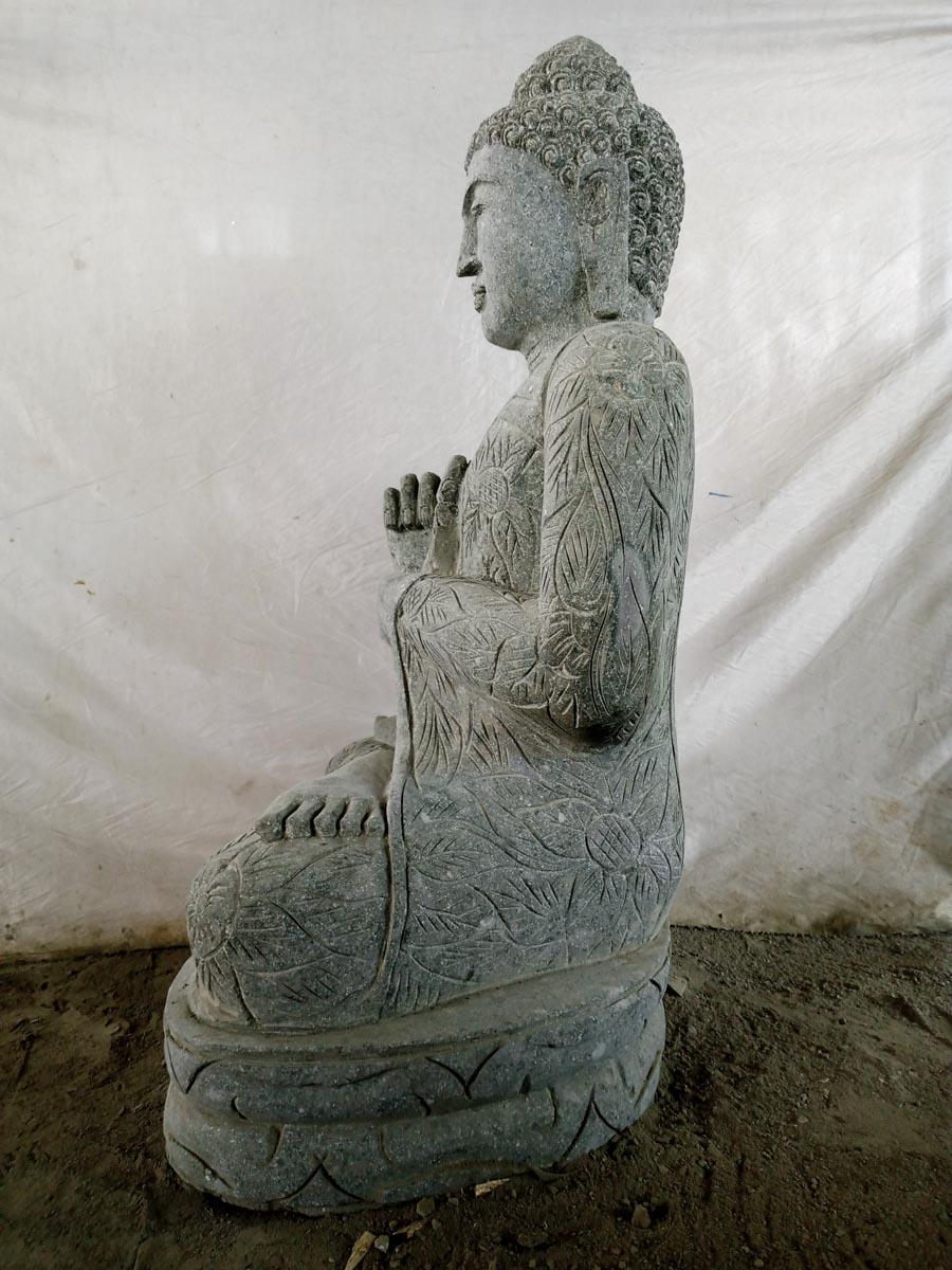 Bouddha ext rieur zen en pierre volcanique position chakra for Bouddha deco exterieur