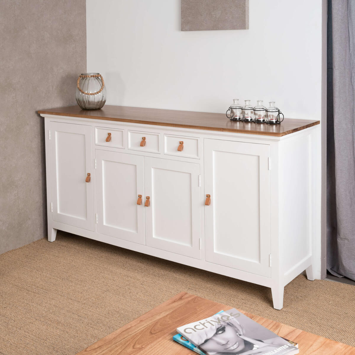 buffet salon bois acajou et pin massif chic rectangle blanc naturel l 185 cm. Black Bedroom Furniture Sets. Home Design Ideas