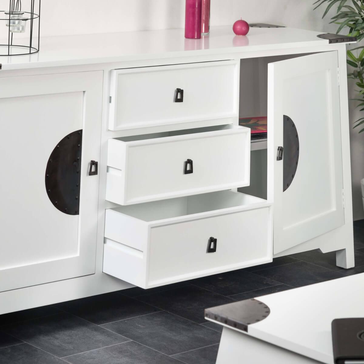 buffet de salon en bois d 39 acajou massif thao rectangle blanc l 160 cm. Black Bedroom Furniture Sets. Home Design Ideas
