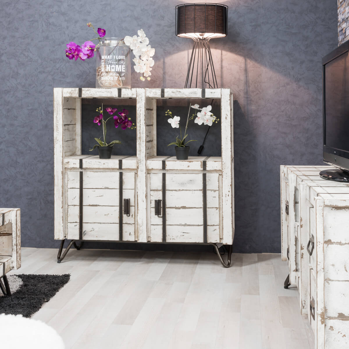 buffet de salon en bois de mindi massif loft rectangle. Black Bedroom Furniture Sets. Home Design Ideas