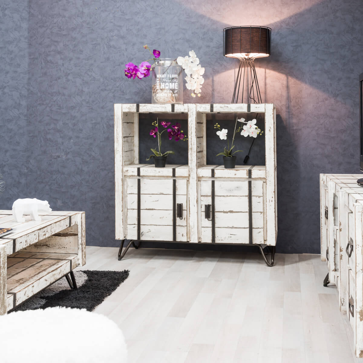buffet de salon en bois de mindi massif loft rectangle blanc l 114 cm. Black Bedroom Furniture Sets. Home Design Ideas