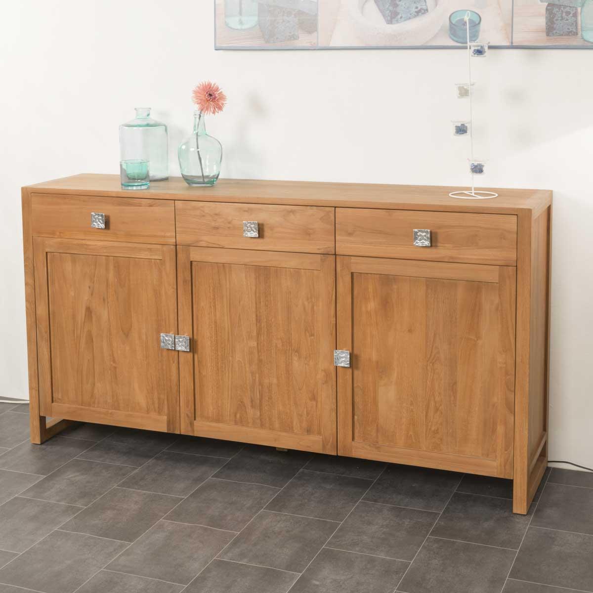 buffet de salon en bois de teck massif thea rectangle naturel l 170 cm. Black Bedroom Furniture Sets. Home Design Ideas