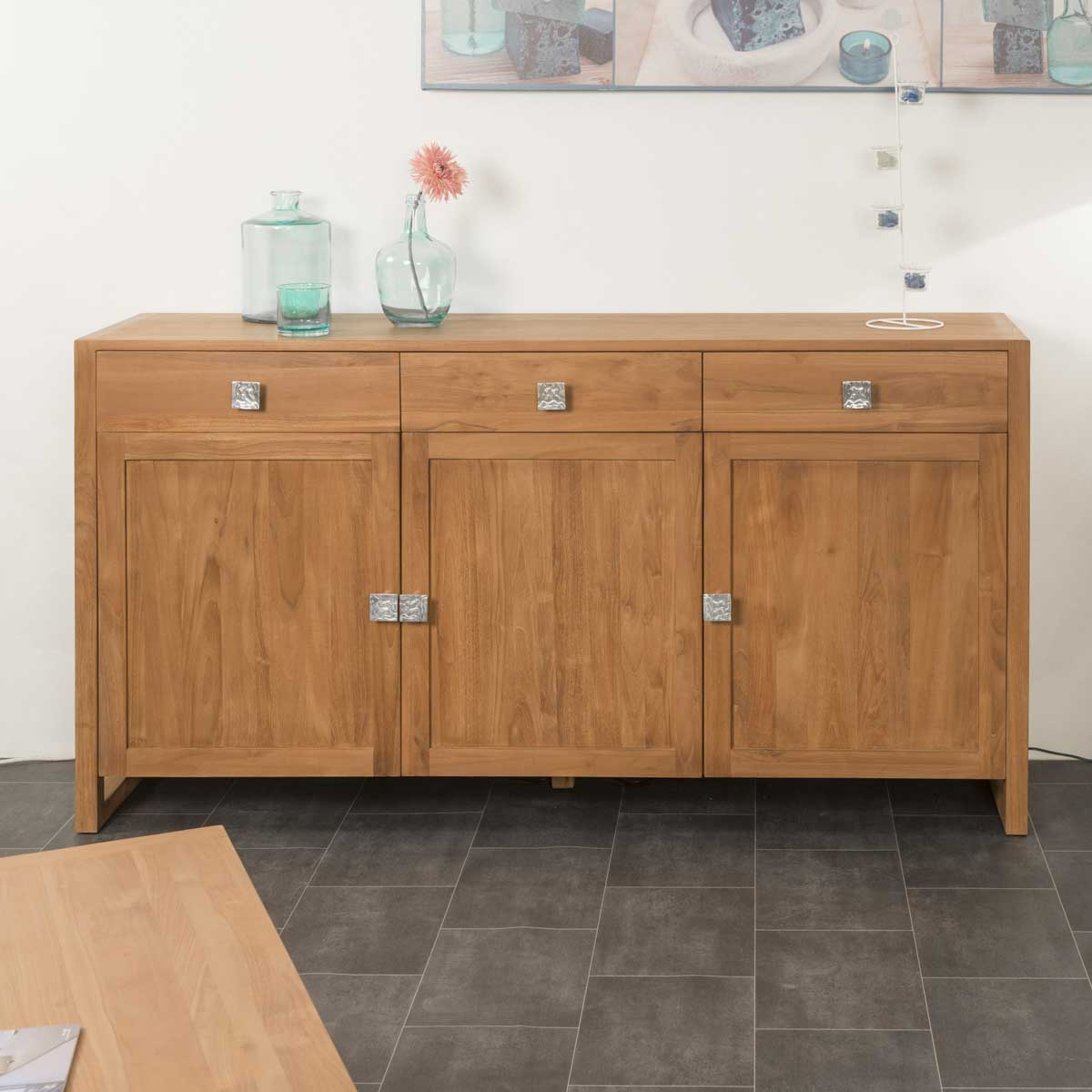 buffet de salon en bois de teck massif thea rectangle. Black Bedroom Furniture Sets. Home Design Ideas