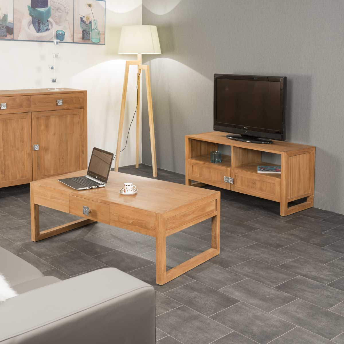 buffet de salon en bois de teck massif thea rectangle naturel l 170 cm. Black Bedroom Furniture Sets. Home Design Ideas