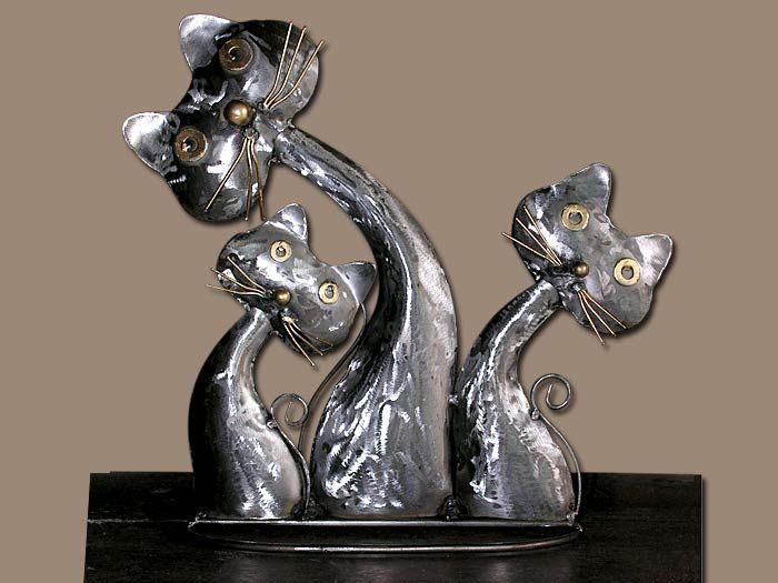 Chat en famille acier brosse deco originale 36cm for Bibelot de decoration