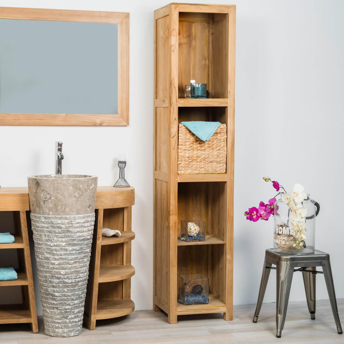 Colonne de rangement en bois teck massif l 190 cm for Salle de bain meuble rangement