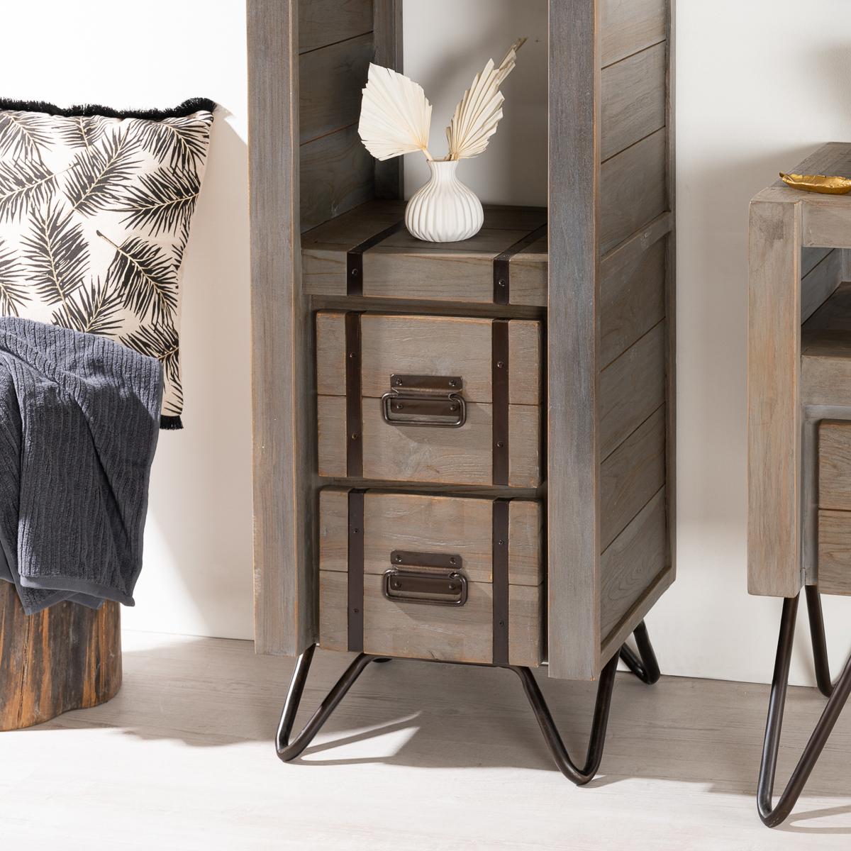 colonne de rangement en bois mindi massif m tal loft. Black Bedroom Furniture Sets. Home Design Ideas