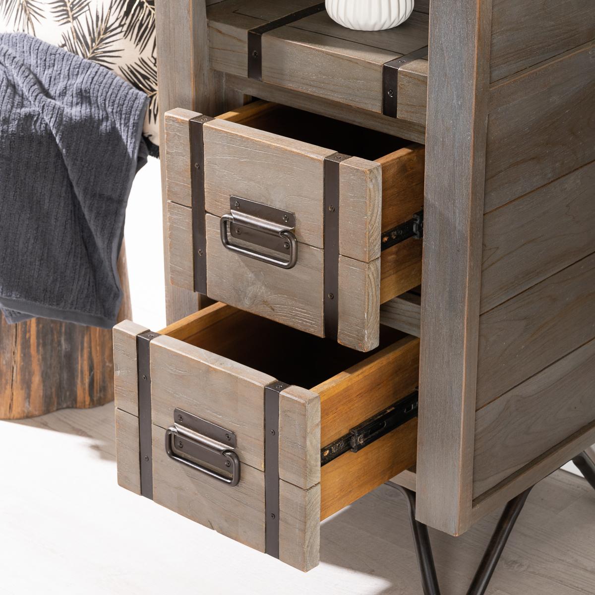 Colonne de rangement en bois mindi massif m tal loft gris l 190 cm for Colonne salle de bain bois