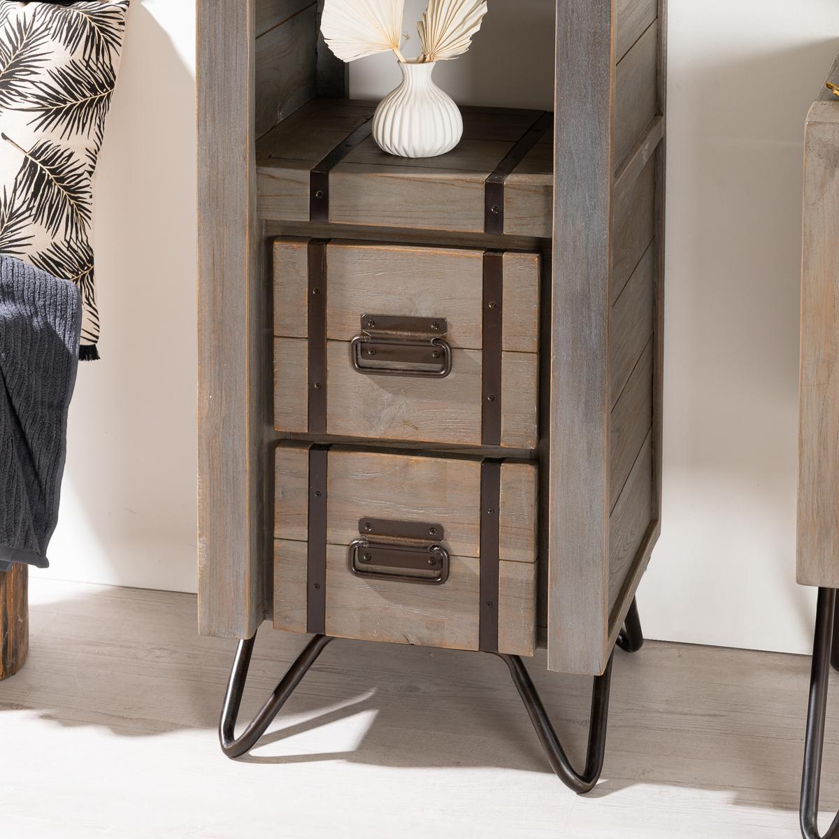 Colonne de rangement en bois mindi massif m tal loft for Colonne de salle de bain vima