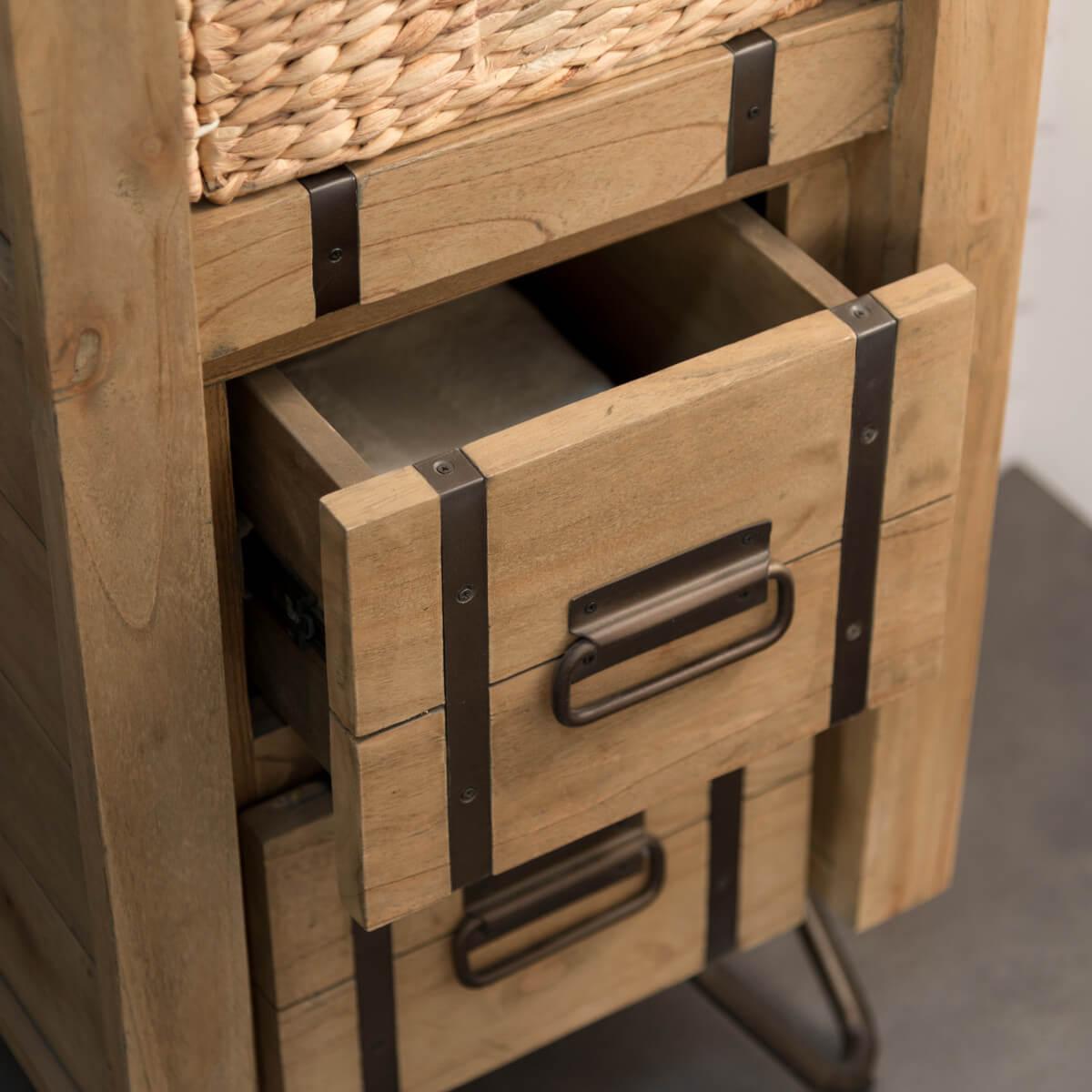 Colonne de rangement en bois mindi massif m tal loft for Salle de bain meuble bois naturel