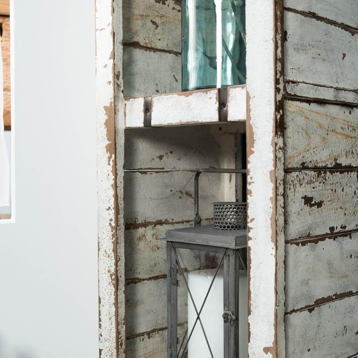 colonne de rangement en bois mindi massif m tal loft blanc l 190 cm. Black Bedroom Furniture Sets. Home Design Ideas