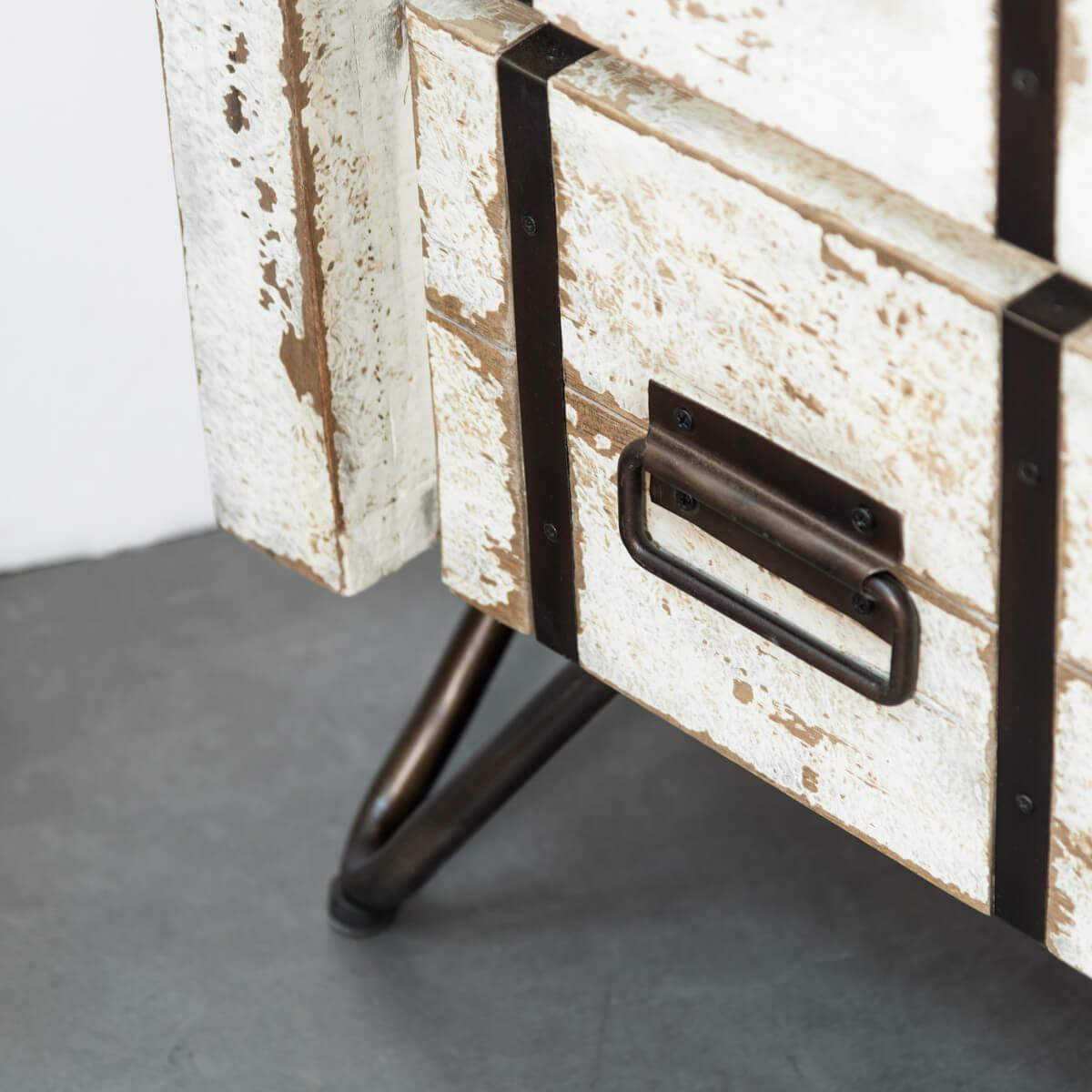 Colonne de rangement en bois (mindi) massif + métal : Loft, blanc ...