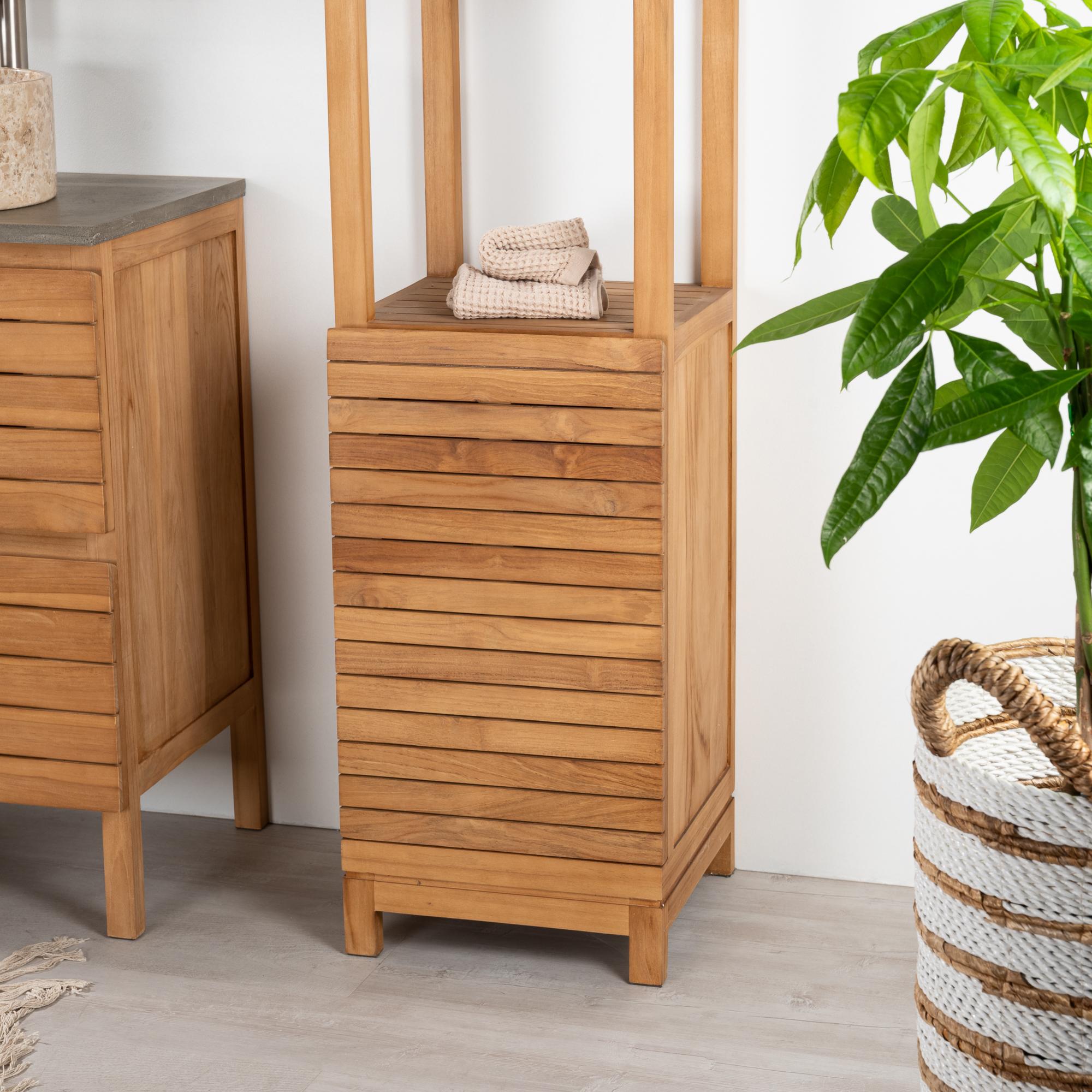 Colonne de rangement en bois teck massif chamonix for Colonne salle de bain but