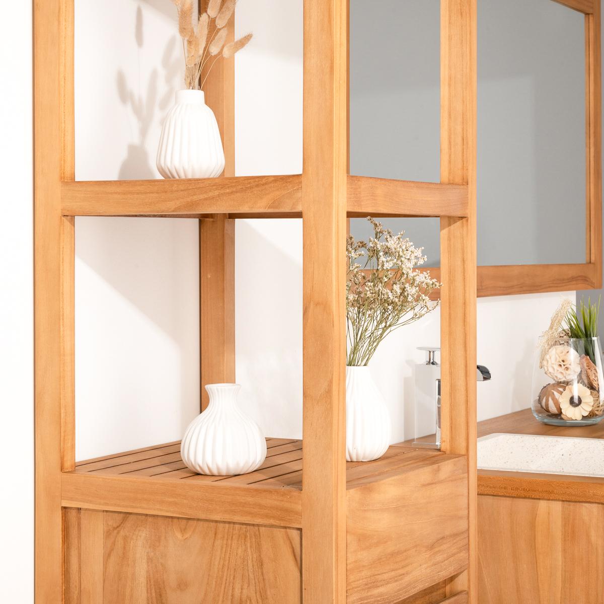 Colonne de rangement en bois teck massif nordique - Colonne salle de bain en bois ...