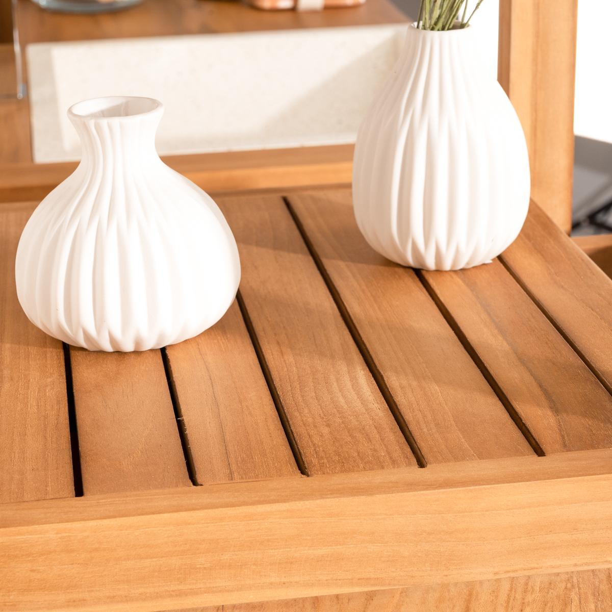 Colonne de rangement en bois (teck) massif : nordique, naturel, l ...