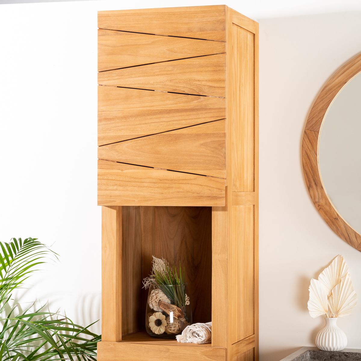 colonne de rangement en bois teck massif harmonie rectangle naturel h 190 cm. Black Bedroom Furniture Sets. Home Design Ideas