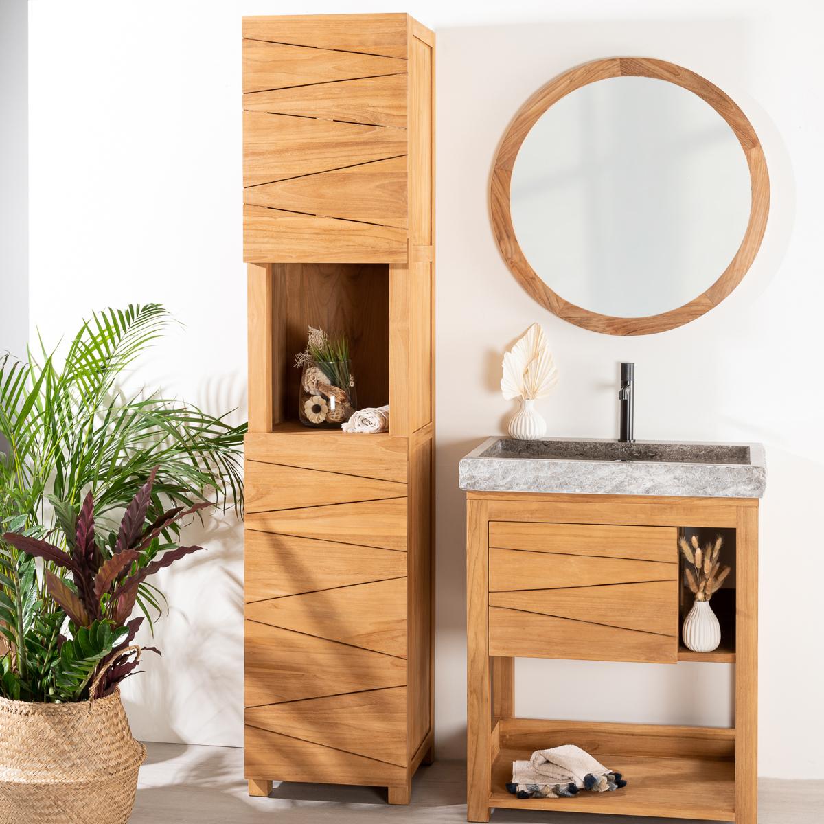 Colonne salle de bain en teck massif harmonie 190cm for Colonne de salle de bain moderne