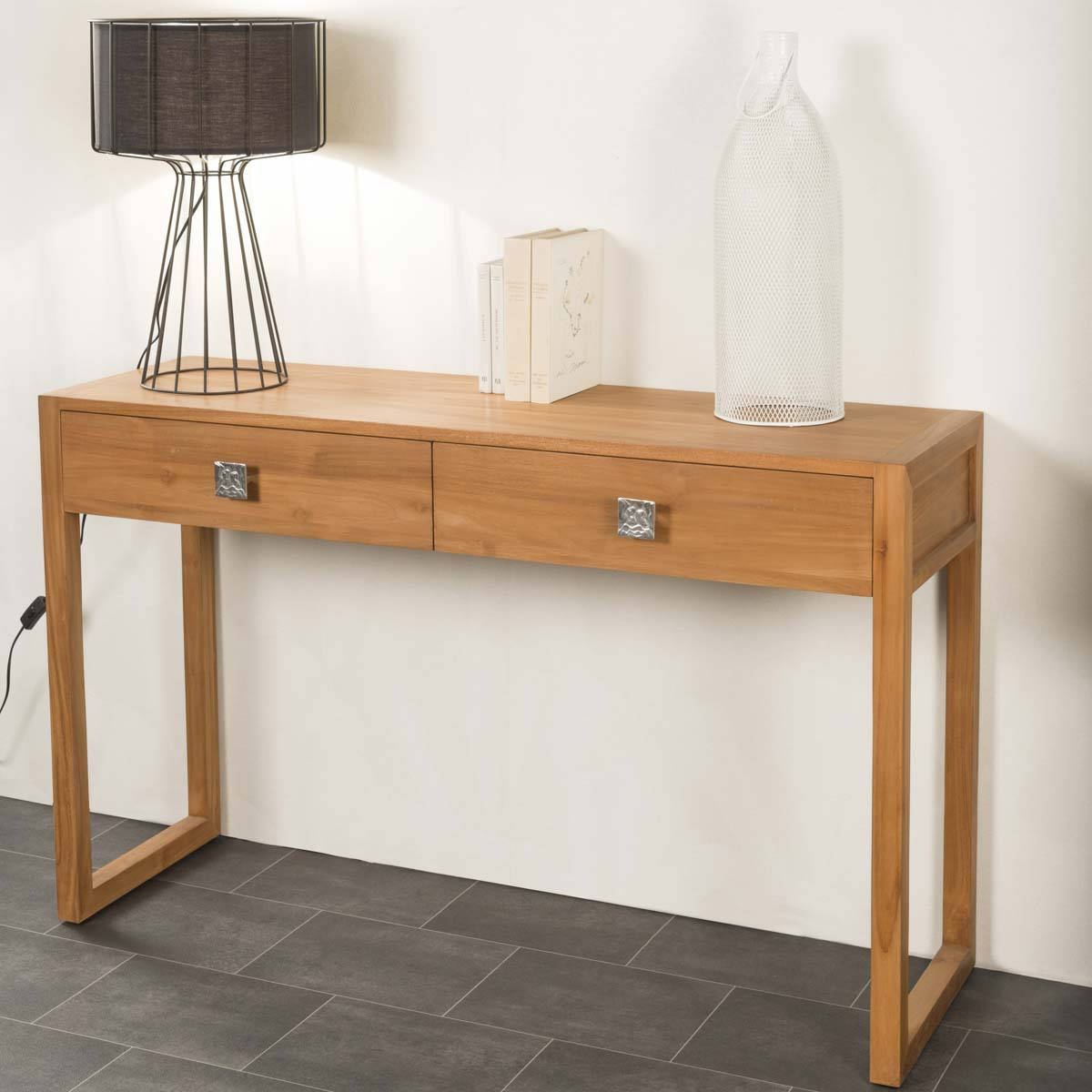 Console de salon en bois de teck massif th a rectangle for Console pour vestibule