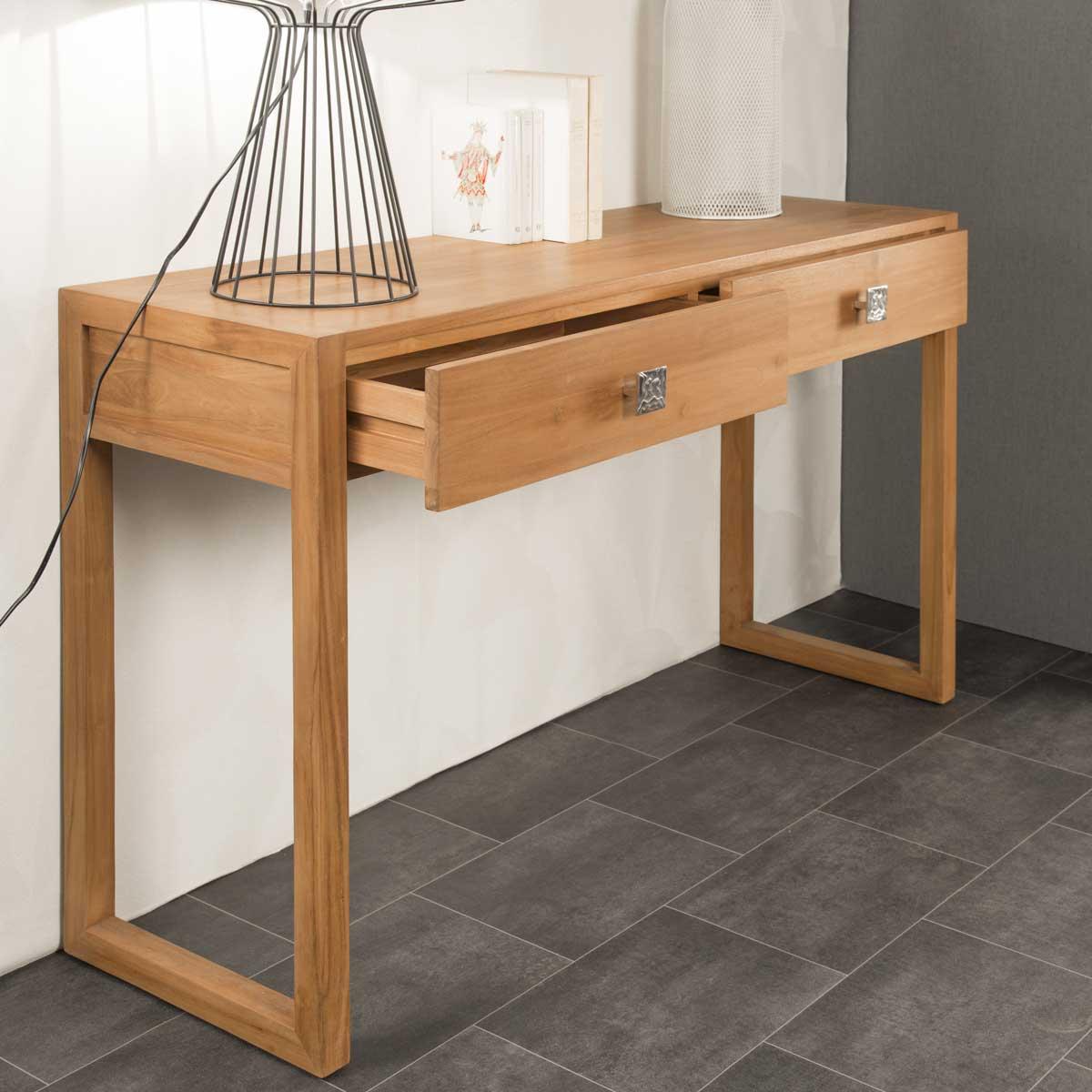 Console de salon en bois de teck massif th a rectangle for Salon en teck massif
