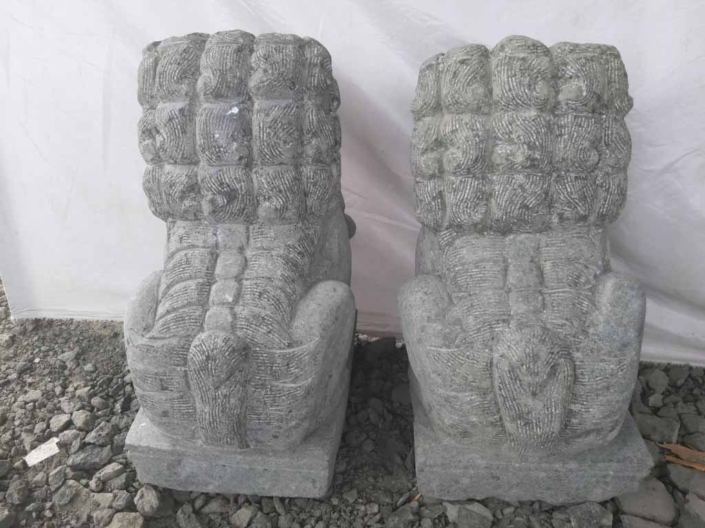 Neuf Deux Statues Jardin Chien Fu Foo Lion Pierre
