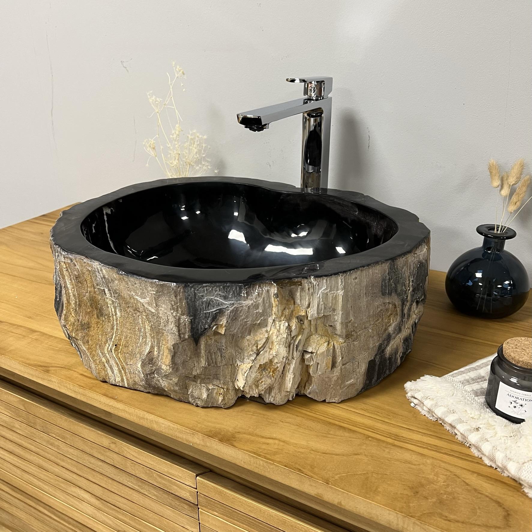 Double vasques de salle de bain en bois pétrifié fossilisé : l : 41 cm