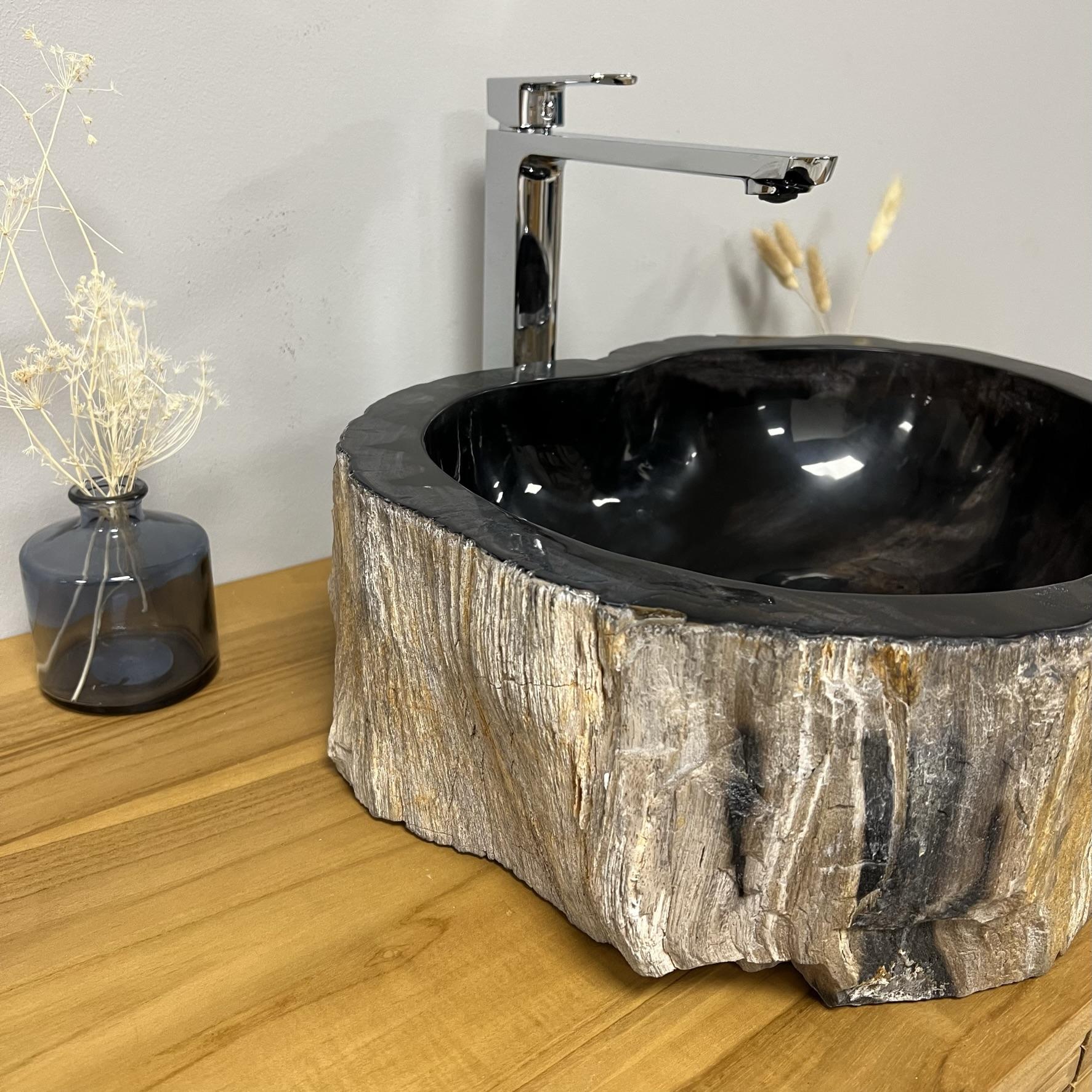 double vasques de salle de bain en bois p trifi fossilis l 41 cm. Black Bedroom Furniture Sets. Home Design Ideas
