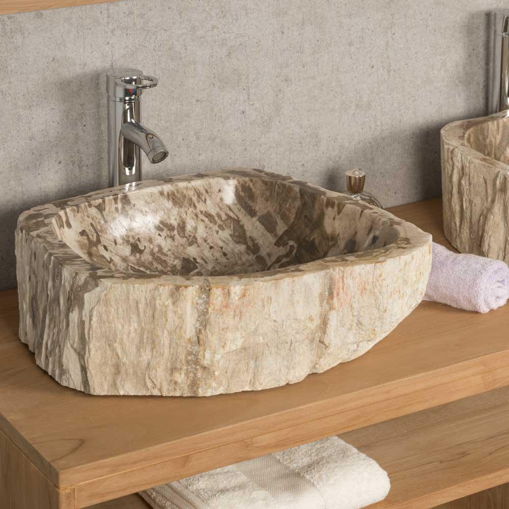 Double vasques de salle de bain en bois pétrifié fossilisé : l : 42 cm