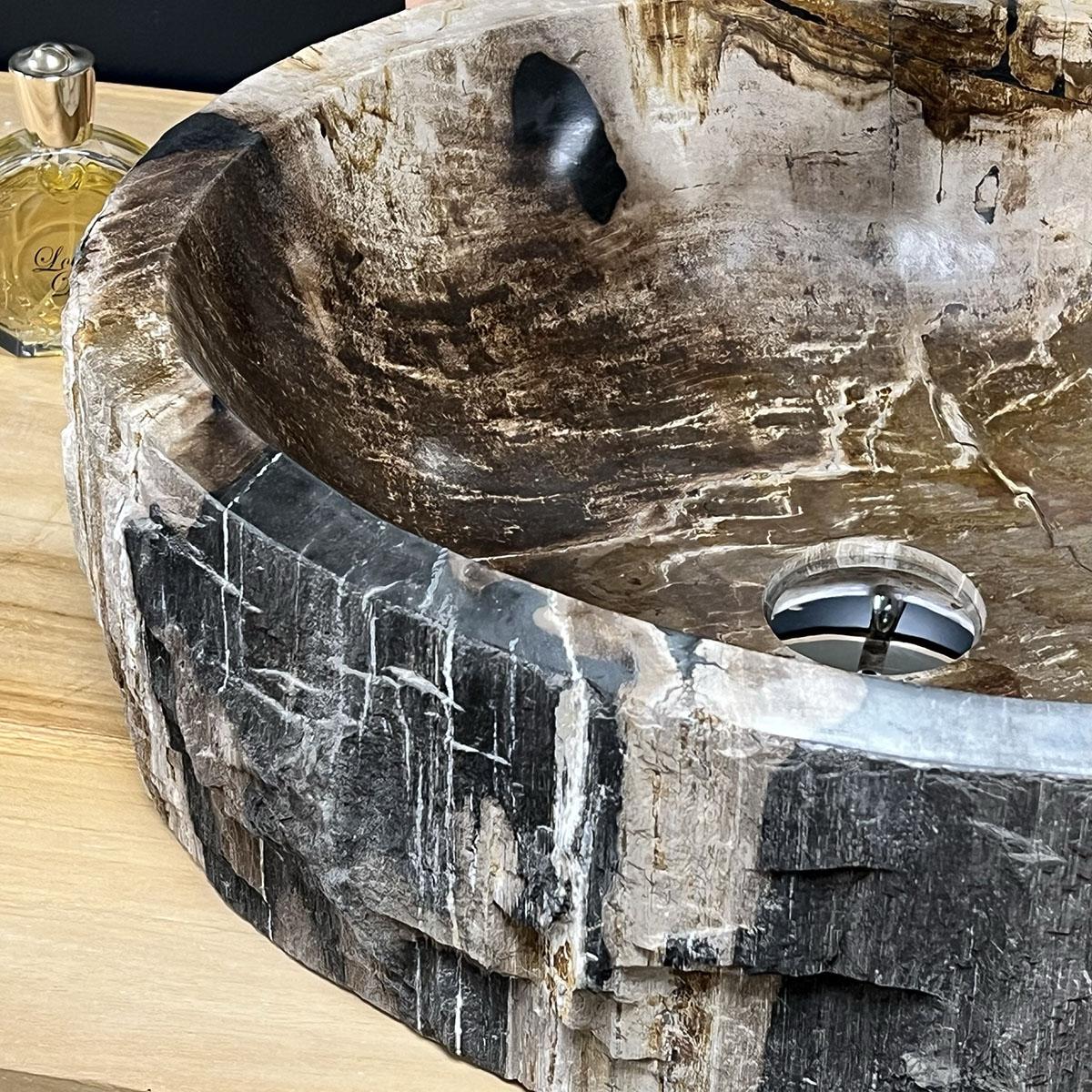 Double vasques de salle de bain en bois pétrifié fossilisé : l : 53 cm
