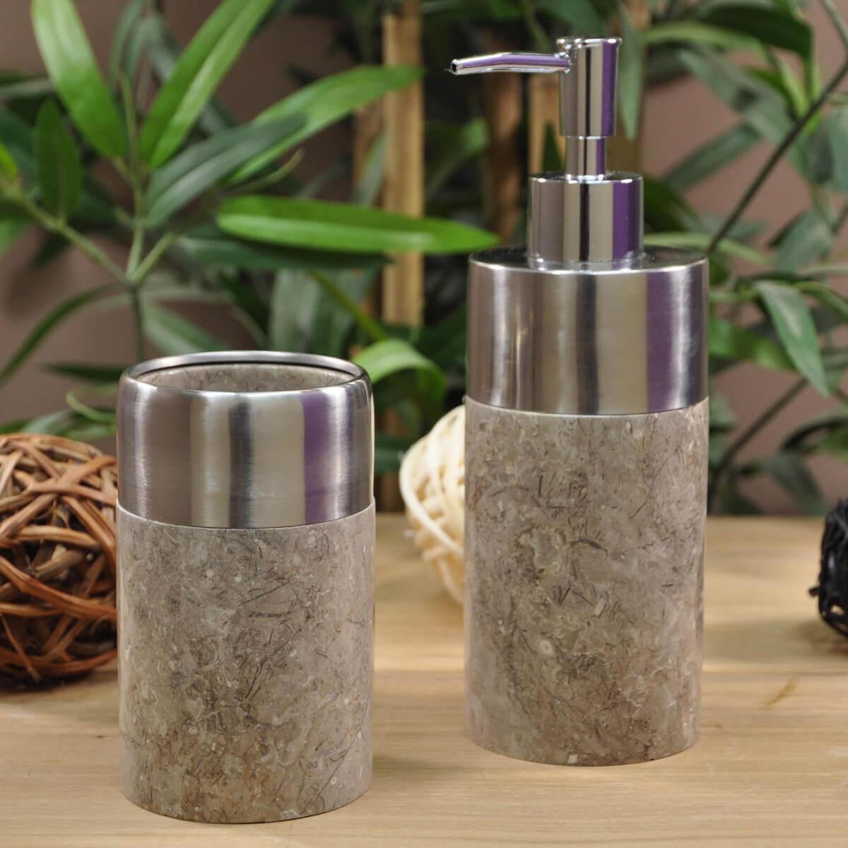 distributeur de savon et gobelet en marbre et inox gris d 7 cm. Black Bedroom Furniture Sets. Home Design Ideas