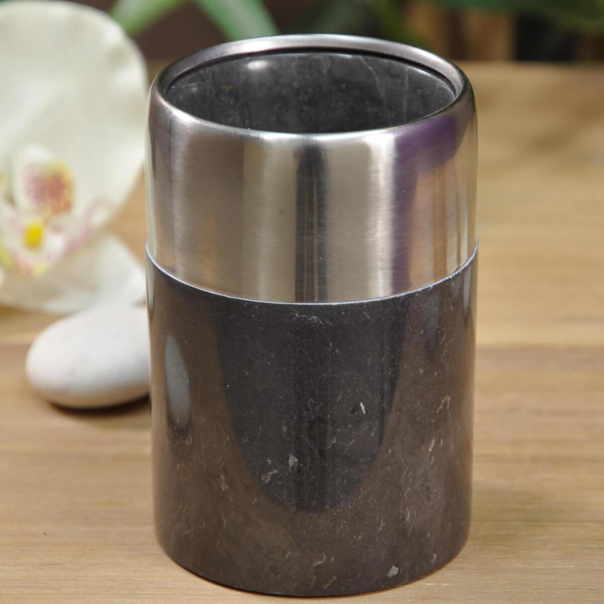 distributeur de savon et gobelet en marbre et inox noir d 7 cm. Black Bedroom Furniture Sets. Home Design Ideas