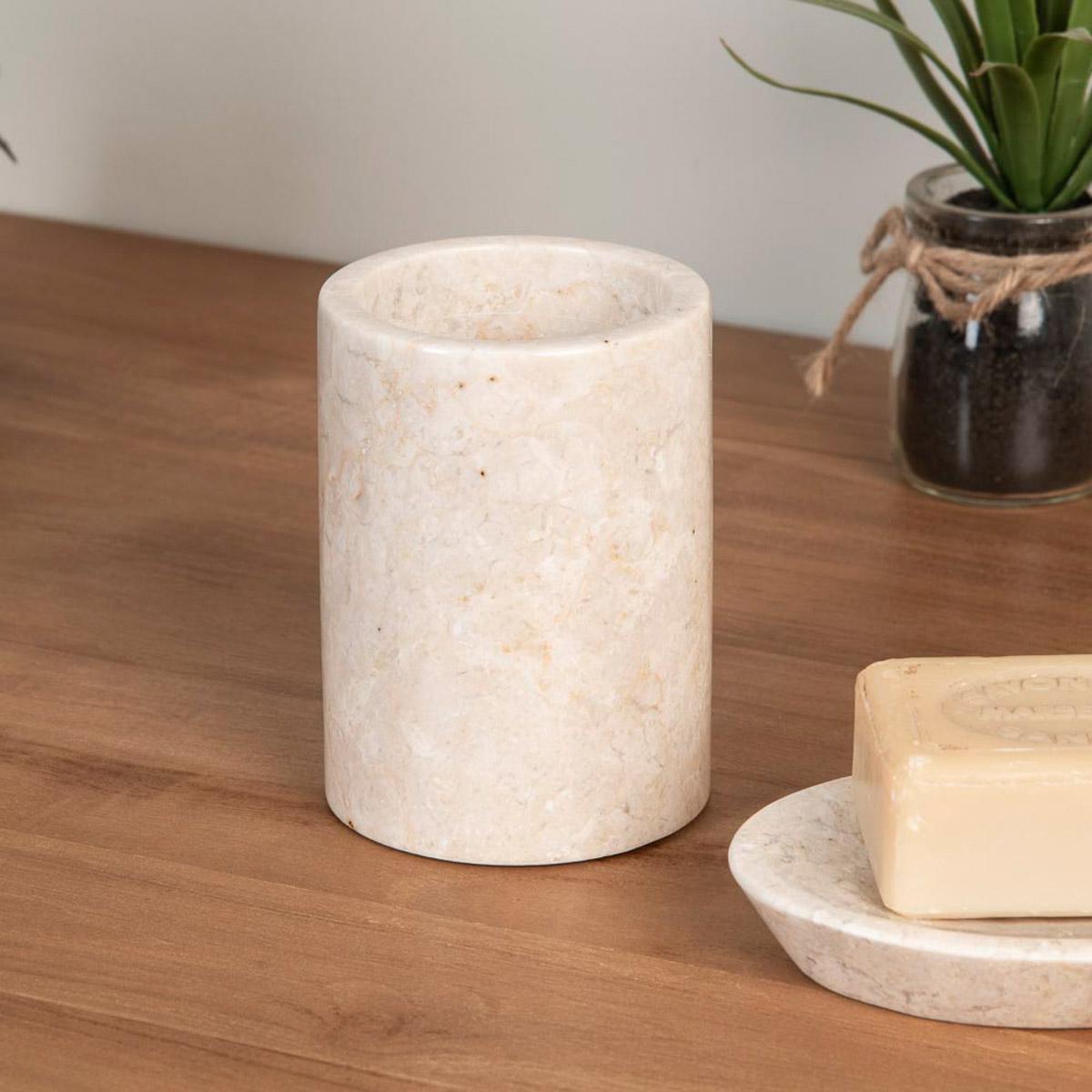 Gobelet porte savon de salle de bain en marbre cr me for Porte savon en verre