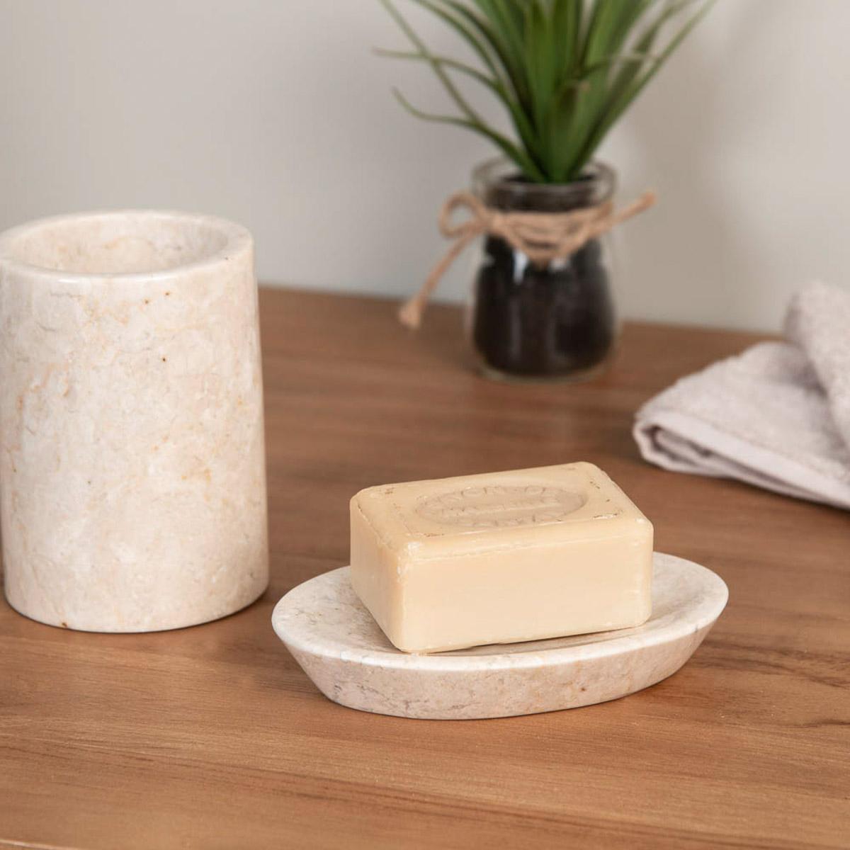 Gobelet porte savon de salle de bain en marbre cr me for Ensemble salle de bain porte savon