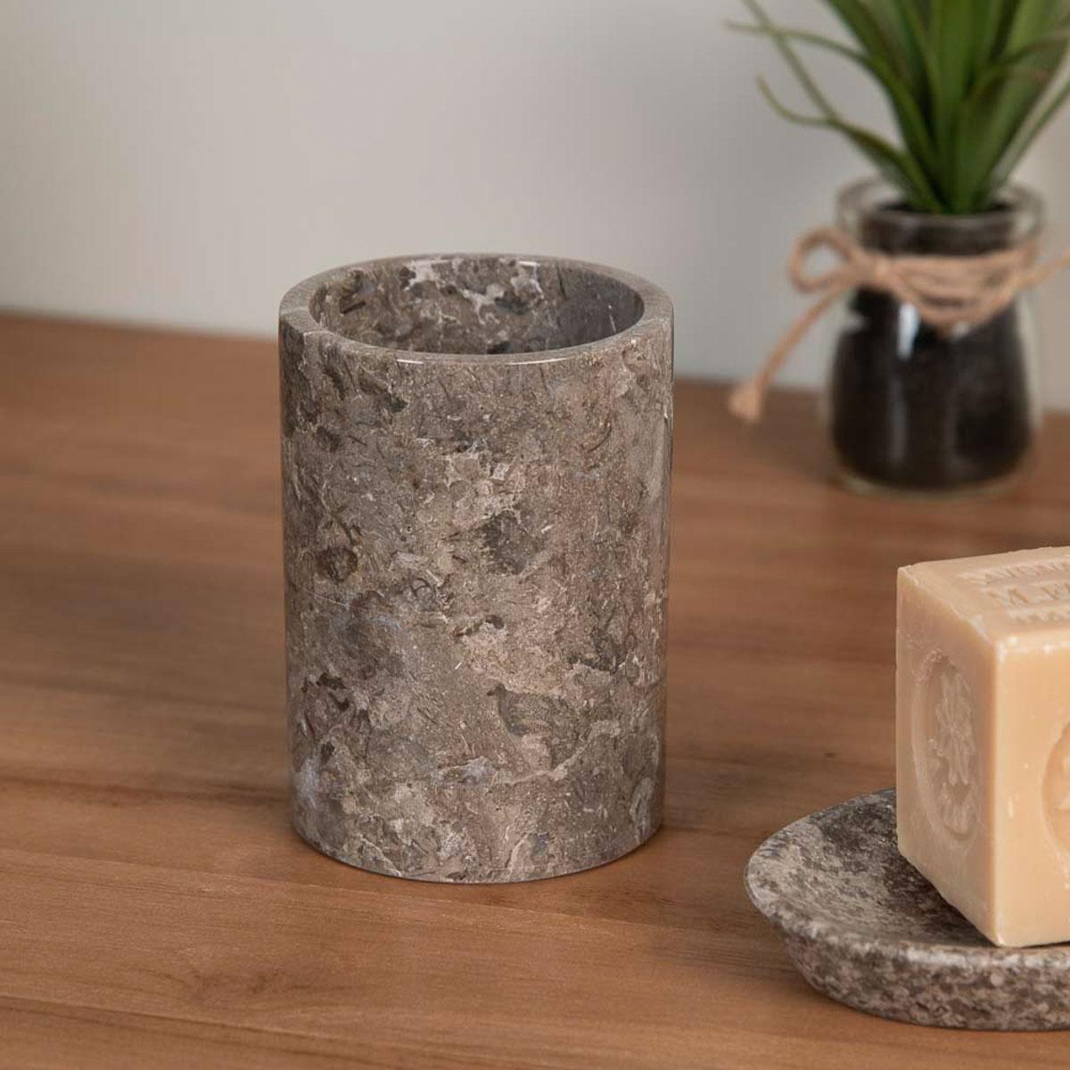 Gobelet porte savon de salle de bain en marbre gris d for Porte savon en verre