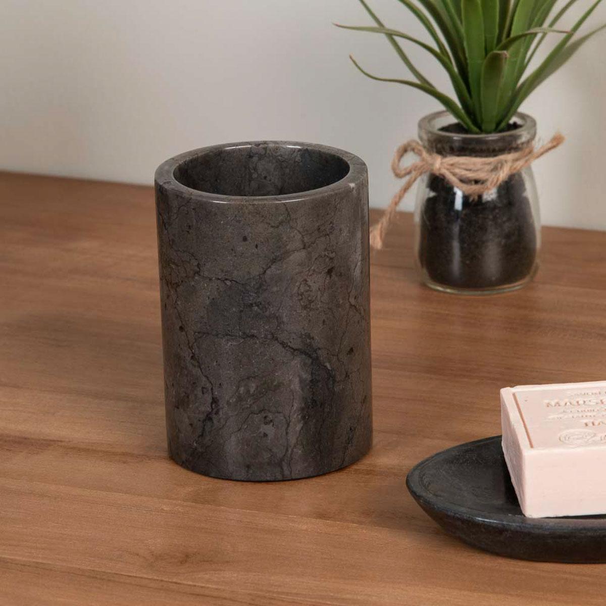 Gobelet porte savon de salle de bain en marbre noir d for Meuble porte gobelet