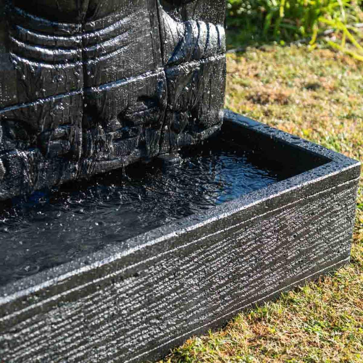 mur d 39 eau avec bassin visage de bouddha noir h 1 m 50. Black Bedroom Furniture Sets. Home Design Ideas
