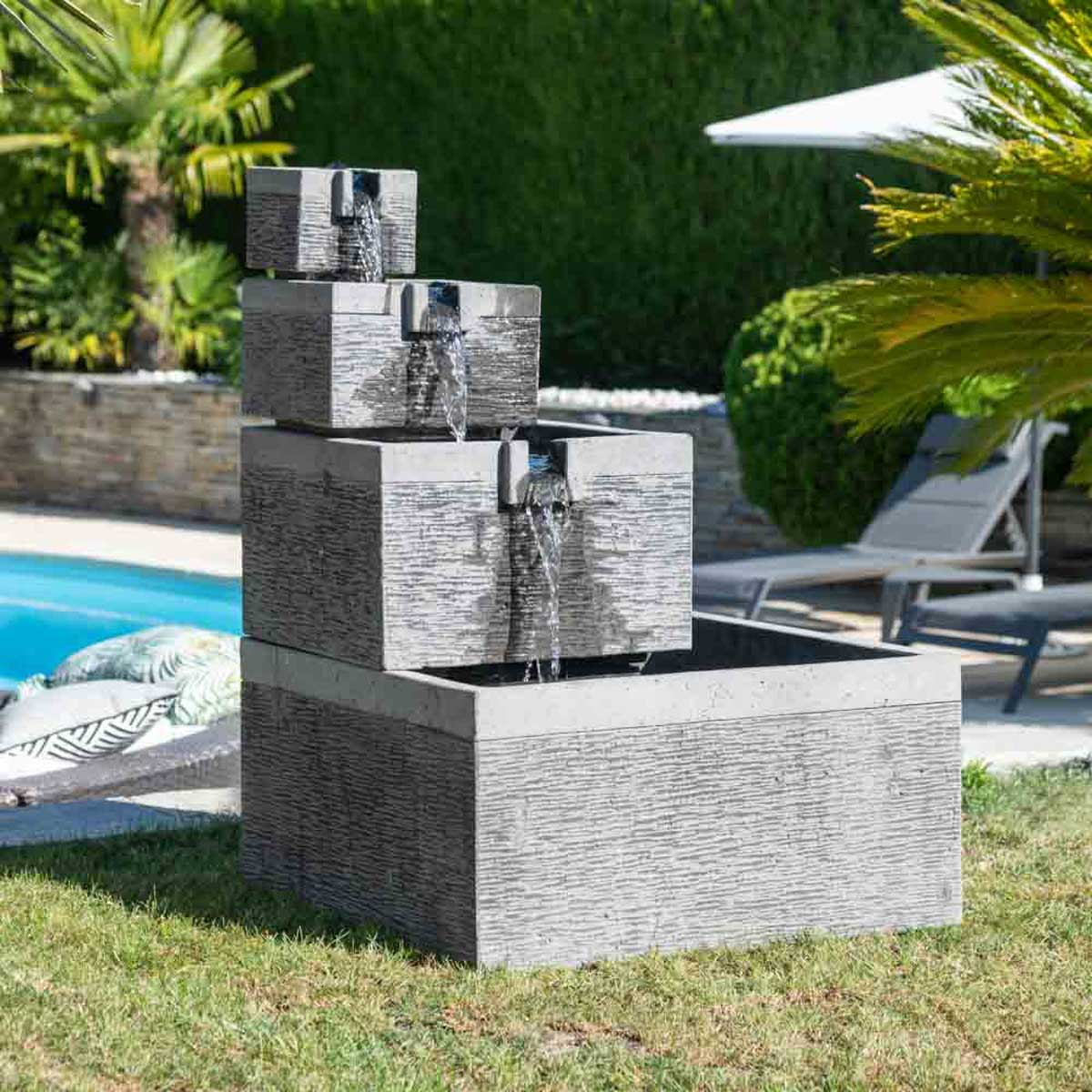 Fontaine de jardin bassin carr 4 coupes noir gris for Jardin zen interieur