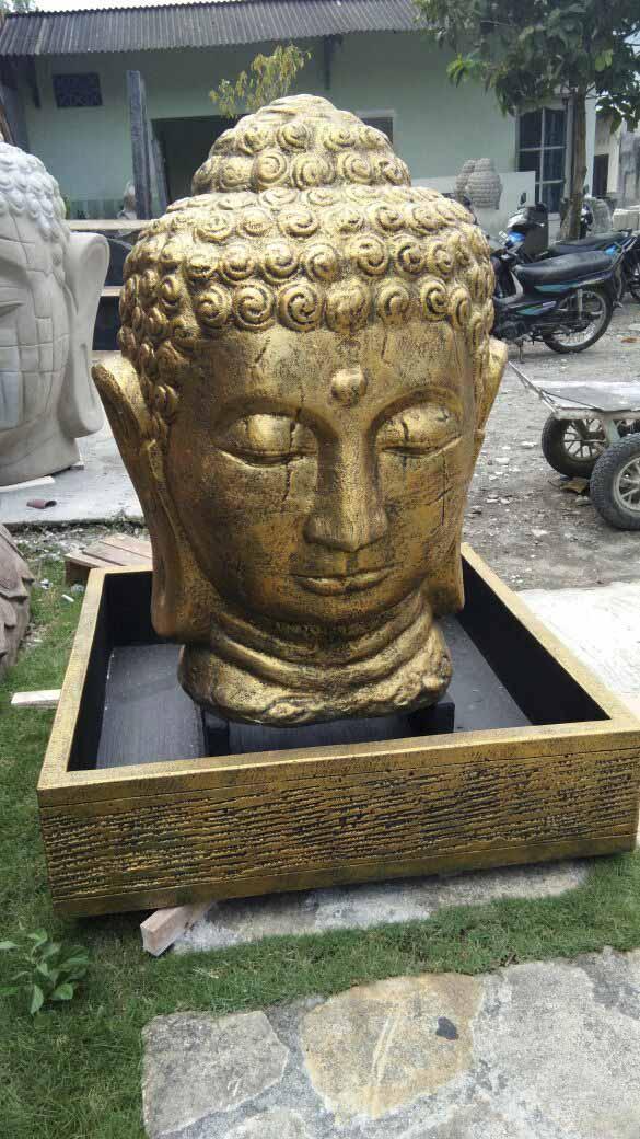 Fontaine de jardin fontaine avec bassin t te de bouddha dor e h 1 m 30 for Decoration jardin bouddha